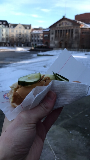 Hand holding hotdog in front of Aarhus Teater