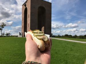 Hand holding hotdog in front of monument at Ejer Bavnehøj